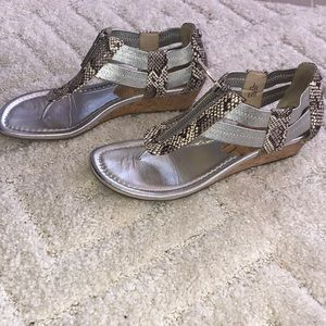 Wedge sandals, silver & snakeskin